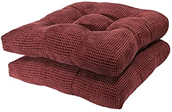Arlee Memory Foam, Non-Skid Seat Cushion, Set of Two (2) Chair pad, 2 Count (Pack of 1), Burgundy Red