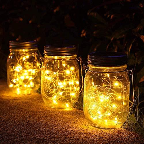 1 paquete de luces solares para tarros de albañil 30 LED a prueba de agua Linternas solares para exteriores Luces de jardín Luces colgantes para exteriores Fiesta de bodas Bar...