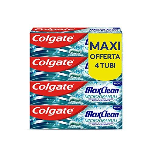 Colgate Dentifricio Max Clean Microgranuli, Freschezza a Lungo, Penetra Fra i Denti e Attorno Alle Gengive, Menta Effervescente, 4 Confezioni da 75 ml