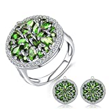 10.52Ct Anillo De Aretes De Diópsido De Cromo Natural Set 925 Gemstone Vintage Jewelry Set para Mujeres