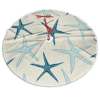 Nautical Starfish Beach Coastal Sea Beachy Funny Colorful Nave Blue Themed 36 Inch Big Christmas Plush Tree Skirt Carpet Mat Rugs Cover Large Round Pad Classic Xmas Party Favors Ornament Decoration