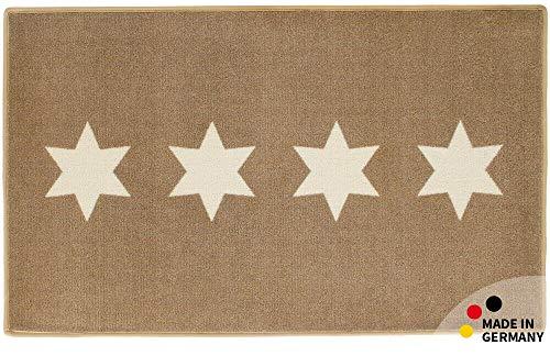 matches21 HOME & HOBBY badkamer tapijt badmat sterren sterren taupe/wit 60x100x1,0 cm rechthoekige machine wasbaar