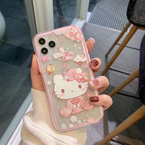 R/ésistant /À L/Éclatement Et Antichoc T/él/éphone Mobile pour Iphone7//7Plus//8//8Plus,I SHOUJIQQ Compatible Coque Iphone,Korean Style Japonais Blanc Cat Cute Cartoon,Support Poignet R/ésistants /À lusure