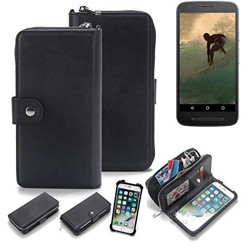 K-S-Trade 2in1 Handyhülle Für Lenovo Moto E3 Schutzhülle und Portemonnee Schutzhülle Tasche Handytasche Hülle Etui Geldbörse Wallet Bookstyle Hülle Schwarz (1x)