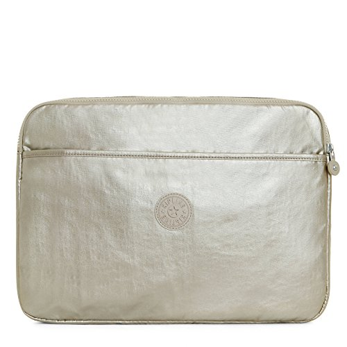 Kipling Women's 15 Inch Metallic Laptop Sleeve, Sparkle Gold, One Size