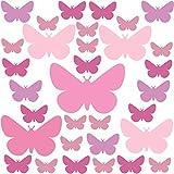 PREMYO 32 Mariposas Pegatinas Pared Infantil - Vinilos Decorativos Habitación Bebé Niña - Fácil de Poner Rosa Pastel