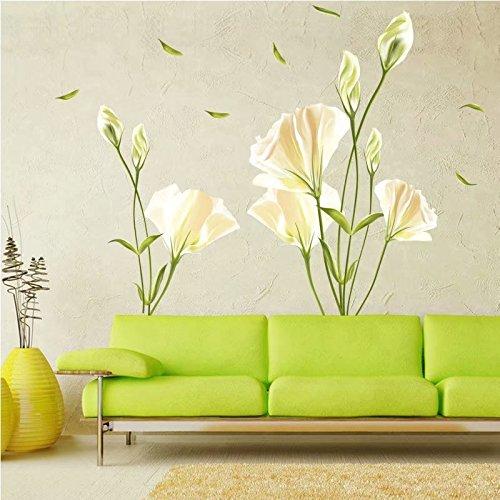 Wandsticker Wandtattoo Größe: 50cm*70cm Home Dekoration Aufkleber Wohnzimmer Zuhause Dekoration Lilie Blumen frisch