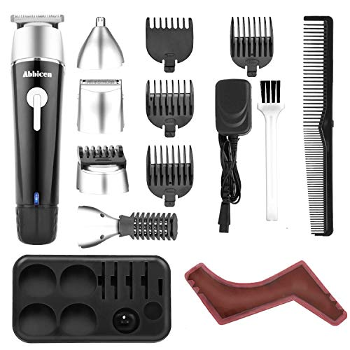 Abbicen New 5 in 1 Multi-functional Beard Trimmer Men's Grooming Kit with Beard Shaping & Styling Tool Dual Shaver Body Trimmer Precision Nose & Ear Trimmer Waterproof Recharqeable Cordless (Black)