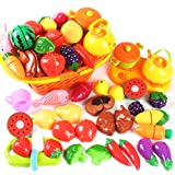 AMOSTING Kids Pretend Food Play Kitchen Toys for Kids, Plastic Food Fruit Cutting Set for Kids Play...