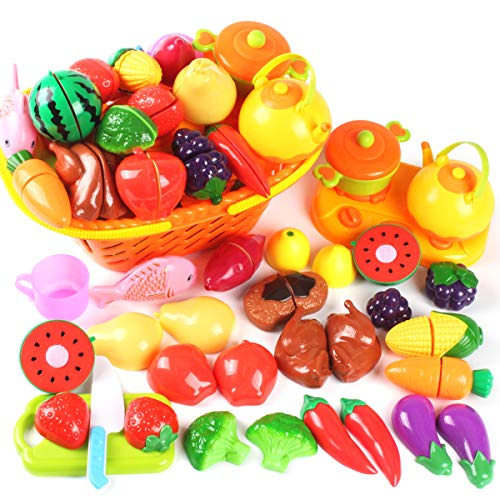 AMOSTING Kids Pretend Food Play Kitchen Toys for Kids, Plastic Food Fruit Cutting Set for Kids Play Kitchen Set, 37 Piece Kitchen Play Food for Kids Learning Gifts Early Educational Toys