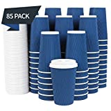 85 Set - Disposable Coffee Cups with Lids 16 oz with Double Wall Insulation ToGo Coffee Cups with Lids (Built in Stoppers) 16 oz Coffee Cups (85 Lids Included) Hot Cups with Lids - Paper Coffee Cups