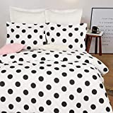 NTBAY Microfiber Duvet Cover Set, 3 Pieces Ultra Soft Zipper Closure Black and White Bedding Set, Queen Size, Polka Dots
