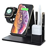 Wireless Charger Stand [Upgraded]/with Pen Holder,Wireless Charger, Fast Charging Station,for Apple Watch & Airpods, iPhone, Samsung and All Qi-Enabled Phone