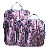 3 Piece Packing Travel Organizer Cubes Set Special Winter Forest Snow Suitcase Organizer Bags Set