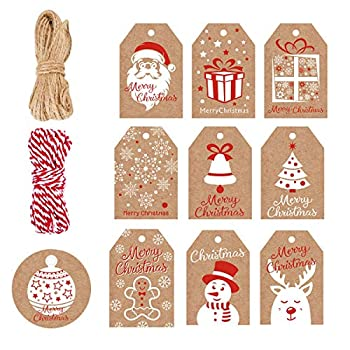 christmas tags with string
