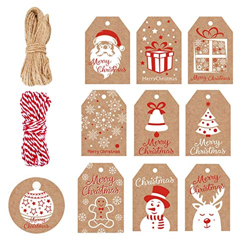 100 Pack Brown Kraft Paper Christmas Gift Tags, Xmas Brown Kraft Gift Tags with Jute Twine Baker Twine for DIY Xmas Holiday Present Wrap Stamp and Label Package Name Card