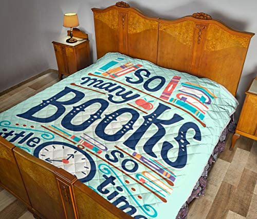 Wecco So Many Books Quilt Twin Size - Unique 3D Design, Suitable for All Seasons with Mellow Cotton Material Comfortable and Luxurious.