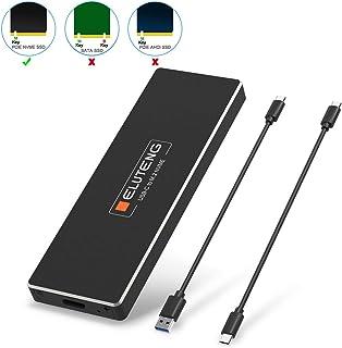 ELUTENG M.2 SSD ケース Type-C to NGFF M.2 アダプタ (NVME M Key のみ)USB 3.1 Gen2 10Gbps SSD 外付けケース 2242 / 2260 / 2280mm USB to M.2変換 USB C + USB A ケーブル ネジセットドライバ付き