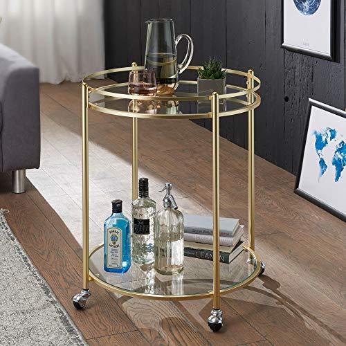 FineBuy Design Servierwagen Jamie Gold Ø 57 cm Beistelltisch | Teewagen Metall mit Rollen | Küchenwagen mit Glasplatten | Barwagen rund 75 cm hoch | Küchentrolley modern | Rollwagen