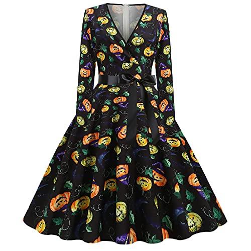 BOOMJIU Robe d'Halloween pour femme, années 1950, manches longues, décontractée, col en V, robe de bal, ligne A, élégante, midi imprimée, pour les fêtes de Noël
