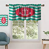 Hiiiman UV Blockout Curtain Valance Pattern of Anchors Waves Stripes Classic Old Style Sailing, Set of 1, 52'x18' for Children Kids Room