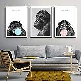 KWzEQ Carteles e Impresiones de Pared de Mono de Pensamiento nórdico Impresiones de Lienzo de Arte Pop Animal Moderno decoración de la habitación de los niños60X90cmx3Pintura sin Marco