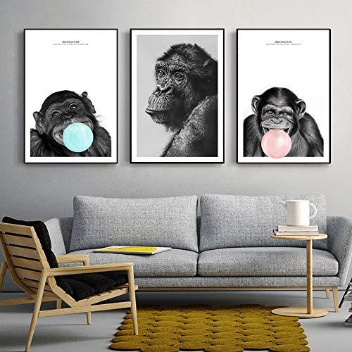 KWzEQ Nordisch denkende Affenwandplakate und druckt Moderne Tier-Pop-Art-Leinwanddrucke Kinderzimmerdekoration80X120cmx3Rahmenlose Malerei
