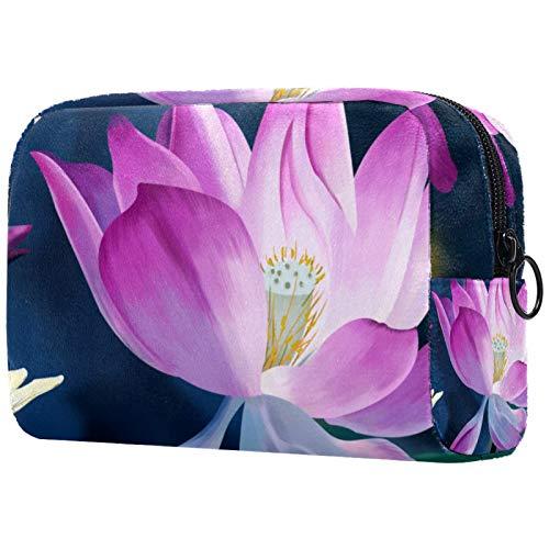 Makeup Bag Travel Cosmetic Bag Pouch Purse Handbag with Zipper - Lotus Art