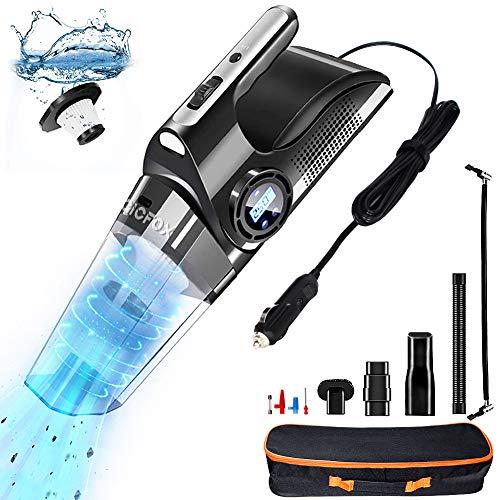 MagicFox Aspiradora portátil 4 en 1 con bomba de compresor de aire digital, 6000PA, inflador de neumáticos para coche con linterna...