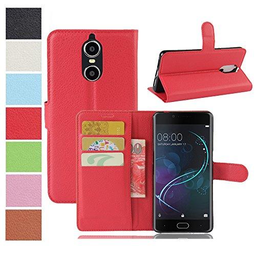 MAXKU DOOGEE Shoot 1 Hülle, Premium PU Leder Mappen Kasten für DOOGEE Shoot 1 Smartphone, Rot