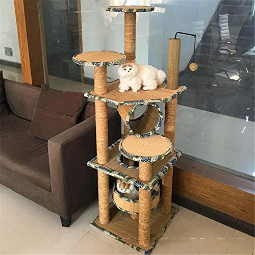 Axiba Play Towers Bomen voor Katten Kattenkruip frame kat nest zee Touw kat Boom Kat kruipen rek voor spel slapen 140cm* 45cm * 45cm