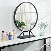PLLP メイクアップミラー、北欧クリエイティブゴールドテーブルミラードレッシングミラーホテル装飾ミラーバスルームの鏡化粧鏡デスクトップミラーベッドルームラウンド、6つのsizes3色,黒,Diameter70Cm