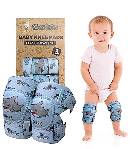 Simply Kids pads rodilla del bebé para el rastreo (2 pares)   protector para el niño, niño, niña, niño ((elección popular) tiburón)