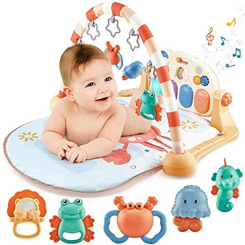 hahaland Gimnasio Bebe Alfombras Infantiles Juegos Gimnasio de Actividades Juguetes Bebe 3 6 8 9 meses, Manta de Juego con Luz y Música para Bebé Recién Nacido