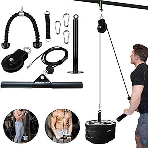 手臂机器-9件健身房前臂举起,手臂力量,带有可下拉的重型滑轮系统的手臂力量运动,二头肌,三头肌
