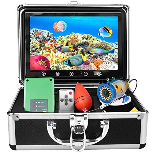 Portable Underwater Fishing Camera, 30 Adjustable IR and White LED Lights with 50-feet of Cable 9 inch HD Colour Monitor Fish Finder Good for Ice Fishing, Lake, Sea, Open Water, Boat (15M)