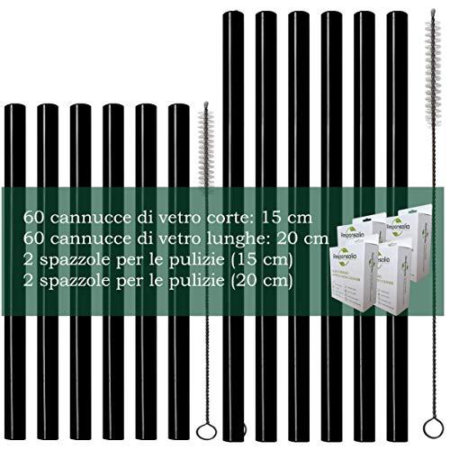 Cannucce di vetro, 120 PCS, 15 e 20 cm, nero bianco trasparente, diametro 8 mm, corte e lunghe, Glasstrohhalme, riutilizzabili - ecosostenbilii (15 e 20 cm, Nero)