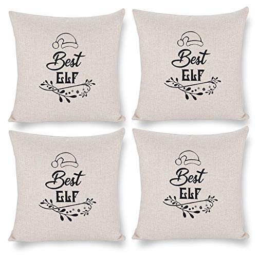 No branded Pack 4,Pillow Covers 18x18 Set of 4,Throw Pillow Cases Home Decor 4pcs Best Elf Black Decor Farmhouse Square Pillow Cushion Pillowcase for Sofa Bedroom Car Patio Chair Nursery