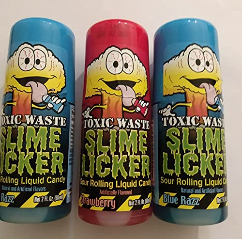 Slime Licker Bundle of Sour Rolling Liquid Candy One Strawberry and Two Blue Razz Flavor 2oz Each