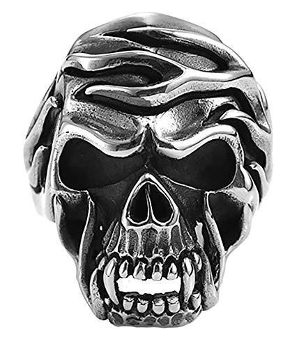 CHXISHOP Anillo de plata 925 para hombre, el anillo punk locomotora que destaca la personalidad joyería de plata. 19 #