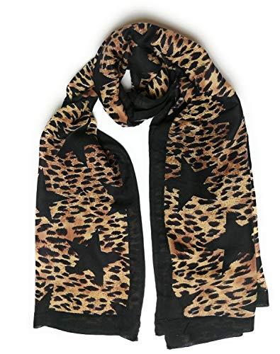 KGM Accessoires grote zijdezachte Luipaard STAR print ZWART streep sjaal sjaal - Womens Animal print Star sjaal sjaal - - Gifts