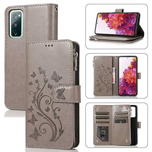 Miagon Reißverschluss Hülle für Samsung Galaxy S20 FE,Magnet Schutzhülle Brieftasche Tasche Ständer Kartenfach Schmetterling Blume Prägung PU Leder Flip Geldbörse Cover,Grau