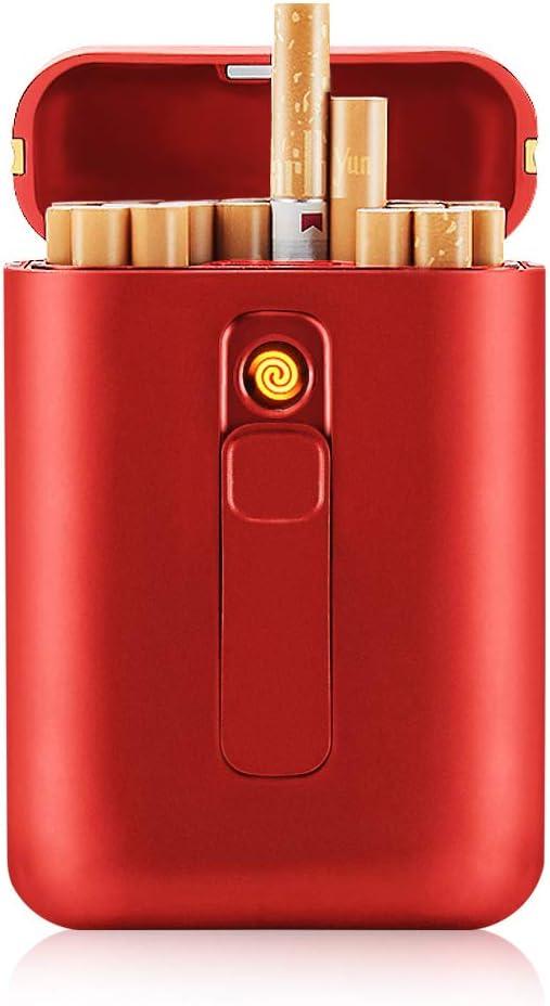 SANSH Caja de cigarrillos con encendedor Cigarrillos Caja 20 unids Cigarrillos regulares Portable King Size Cigarrillos USB Encendedores 2 en 1 Recargable sin llama Encendedor eléctrico a prueba de vi