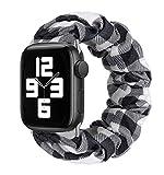MONOBLANKS Scrunchie Elastic Watch Band Compatible for Apple Watch Band 38mm/40mm 42mm/44mm,Thick Elastic Band Replacement Compatible with for iWatch Series 4/3/2/1 (White Buffalo Plaid, 38MM/40MM)