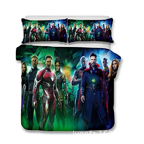 XWXBB Avengers Marvel Duvet Covers Children's Duvet Cover 3-Piece Set (Avengers 1,200 x 200 cm)