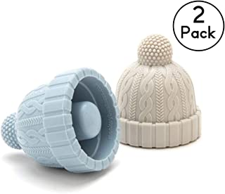 Beanie Cap Silicone Bottle Stopper, Set of Two, Novelty Cork Replacement, Beverage and wine Keeper, by Monkey Business (Blue/Gray; Red/Gray; See Color Options) (Blue & Grey)