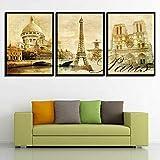 QHZSFF Pintura Art Deco Estilo parisino Cuadros De Lienzo, Pinturas Al Óleo, Impresiones, Decoración De Lienzo, Arte De La Pared del Hogar 50x70cm x 3 piezas