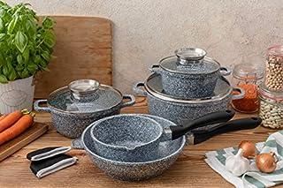 Edënbërg Stonetec Line – Juego de ollas de mármol – Juego de ollas de aluminio fundido – Revestimiento antiadherente de mármol – 10 piezas – Apto para lavavajillas