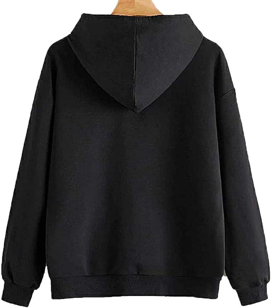 Orderking Damen Kapuzenpullover Winter Warm Langarm Hoodie Pullover Outerwear Fashion Drucken Muster Sweatshirt Casual Sweatjacke Mit Tasche #03 Schwarz