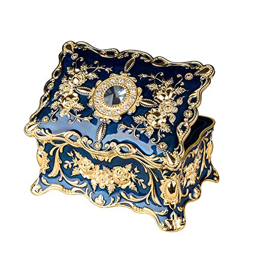 Feyarl Vintage Rectangle Trinket Box Jewelry Box Ornate Antique Finish Engraved with 2 layers Dividers Inside Christmas Gift (Blue) 7.1 x 4.7 x 3.1 inches